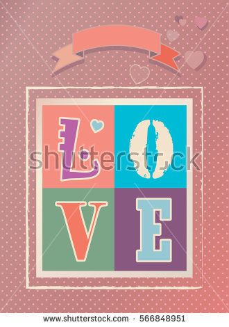 Happy Valentineu0027s Day vintage greeting card Vector template - poster word template