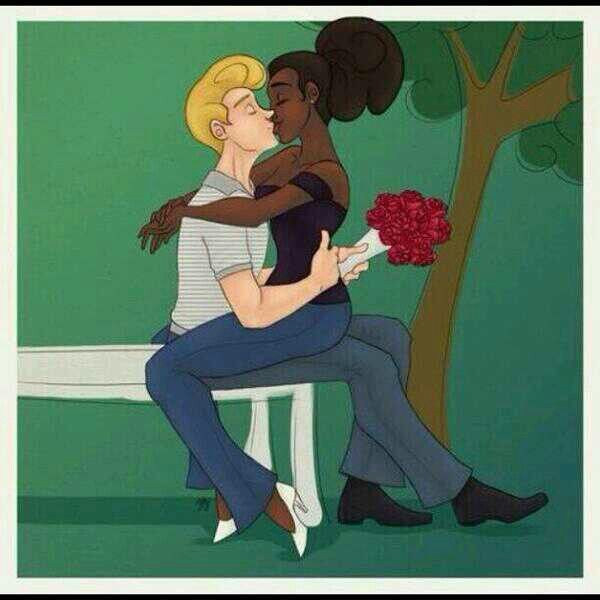 man Black woman cartoon white