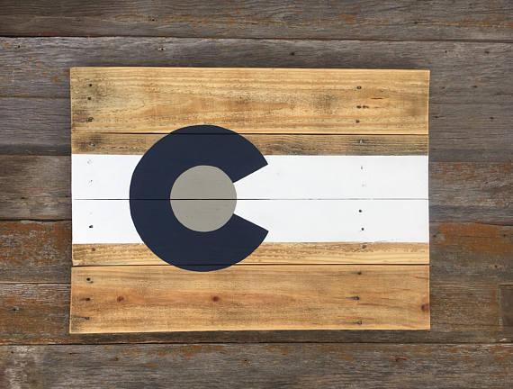 Colorado Flag Sign Colorado Flag Wooden Colorado Pallet Wood Colorado Wall Art Colorado Flag Handmade Wall Decor