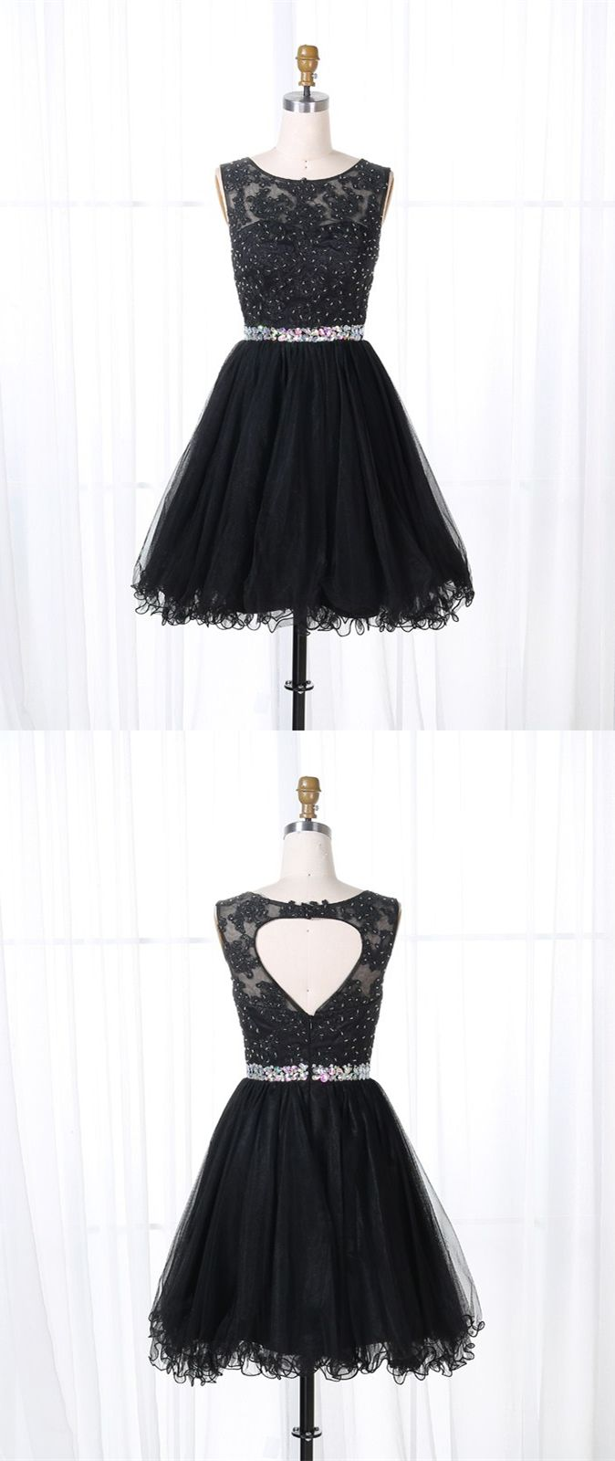 Aline round neck open back black tulle short homecoming dress with