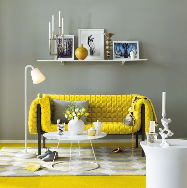 Grey and yellow living room. Absolutely incredible couch designed by ...