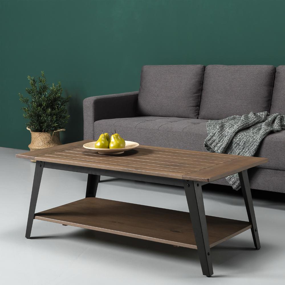 zinus woodrow wood and metal coffee table  walmart in