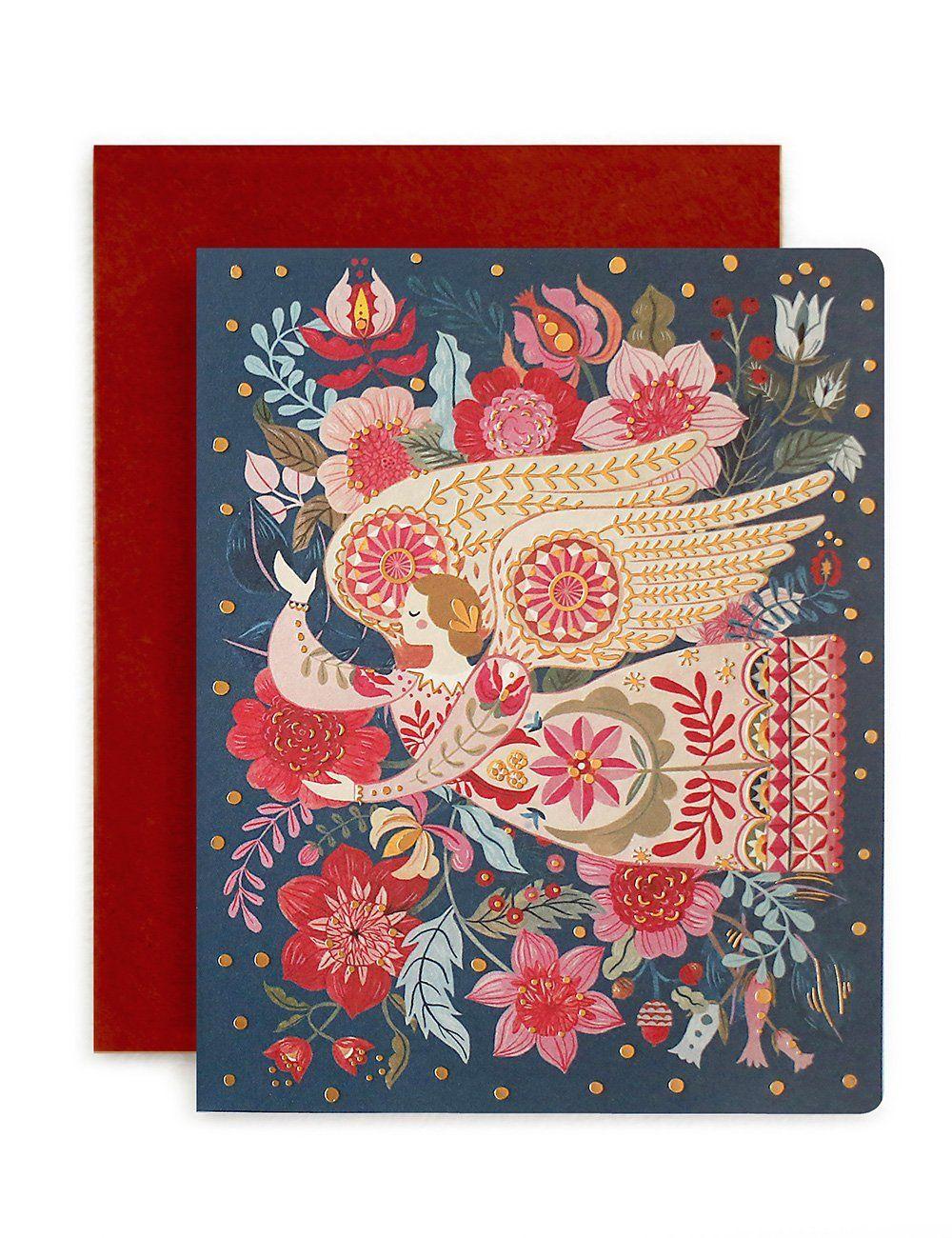 Folk 'Christmas Angel' Christmas card by Bespoke Press