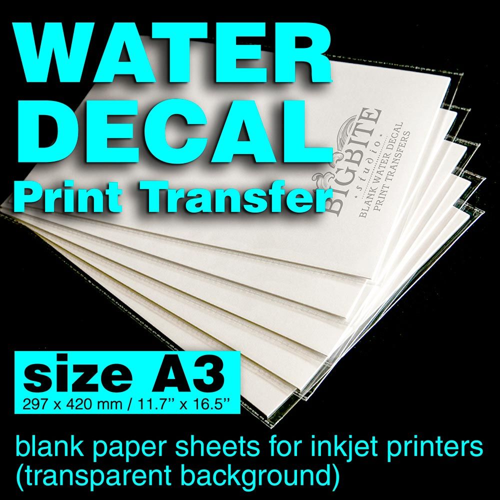 A3 SIZE 100 SHEETS CLEAR WATER SLIDE DECAL TRANSFER PAPER FOR LASER PRINTERS