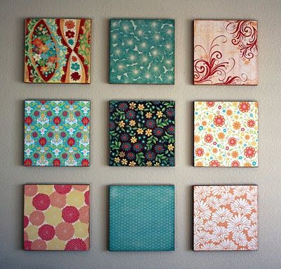 Easy Peasy Craft Project Hmmm If You Do With Scrapbook Paper You Could Change It Up With The Seasons Fabric Wall Art Diy Canvas Wall Art Diy Wall Art
