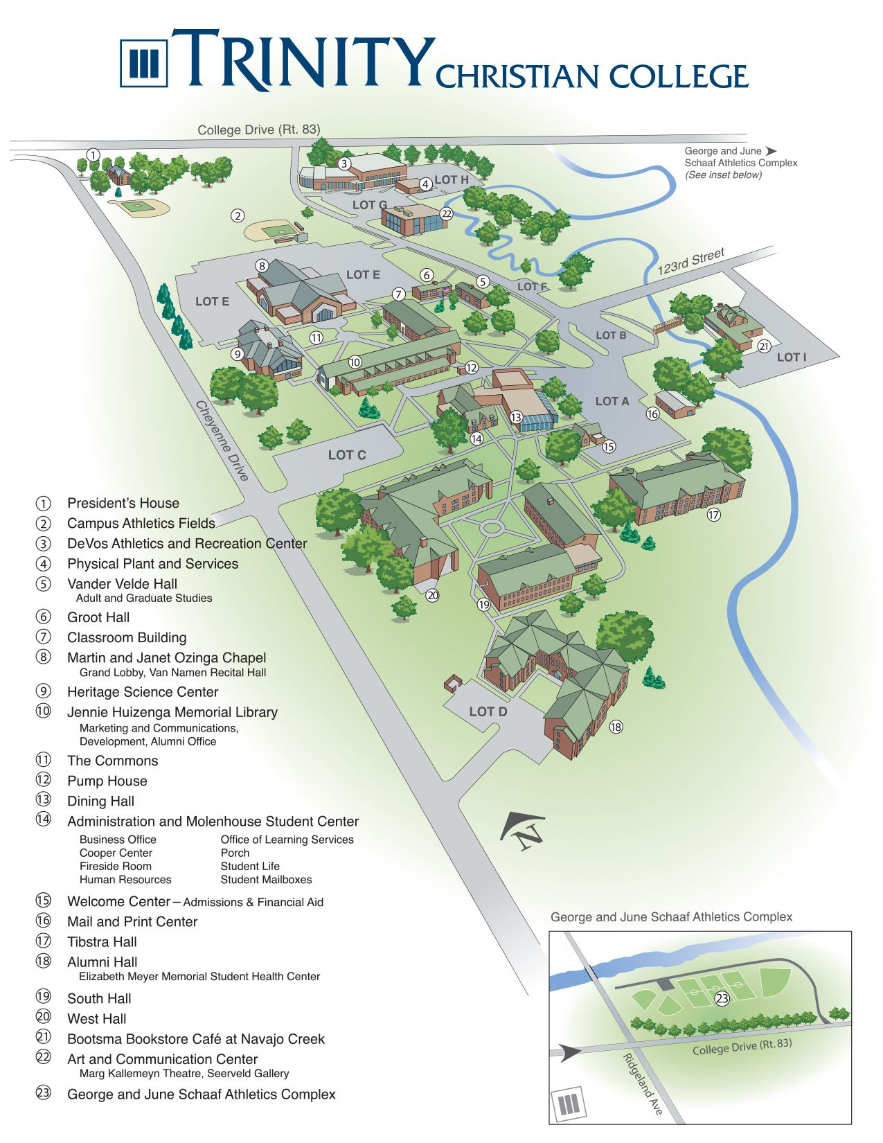 Printable Campus Map Trinity Christian College Palos Heights Il