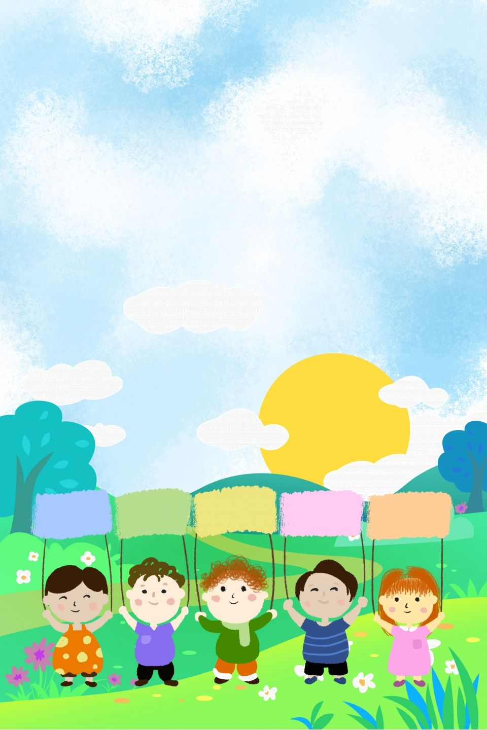 Cartoon Kid Meadow Green Background Material In 2020 Cute Cartoon Wallpapers Green Backgrounds Cartoon Kids