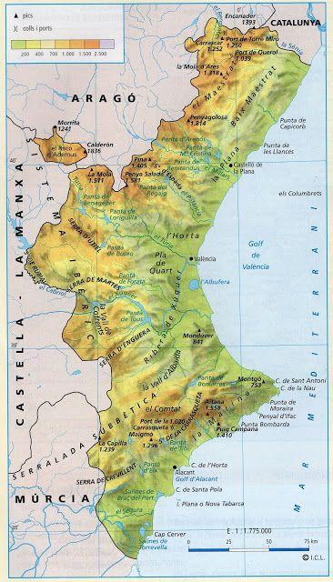 Resultado de imagen de mapa fisico comunidad valenciana | Mapa ...