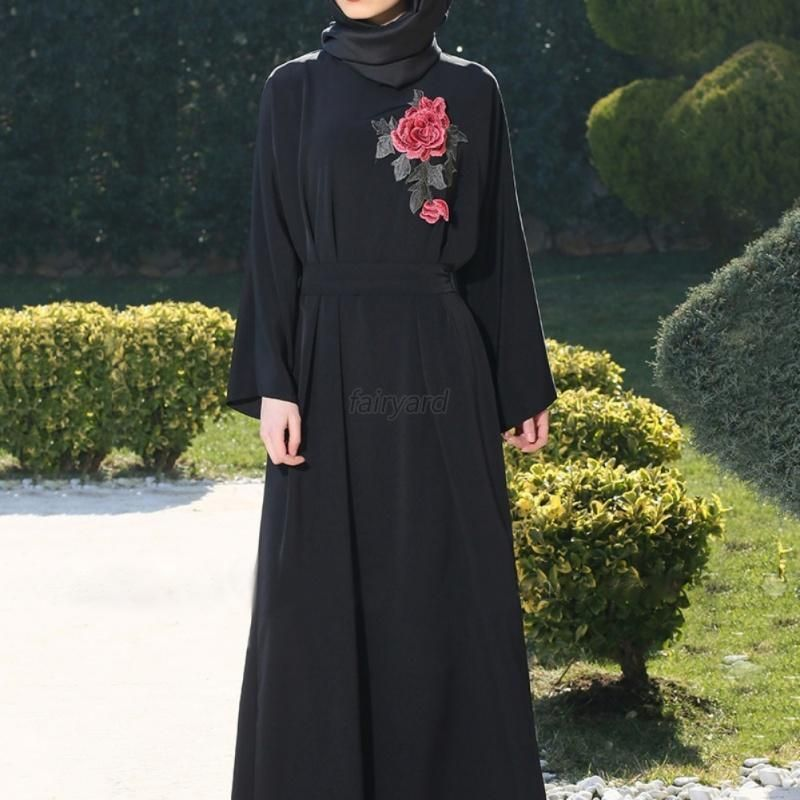 Kaftan abaya islamic muslim cocktail womens long sleeve evening maxi dress