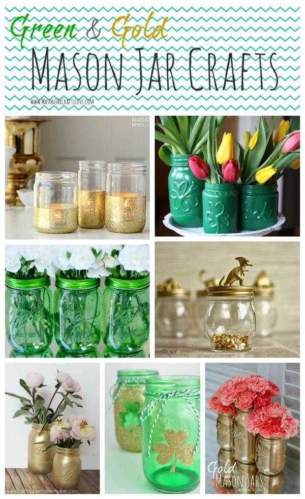 Green & Gold Mason Jars | Mason Jar Craft Ideas for St. Patrick's Day @ Mason Jar Crafts Love