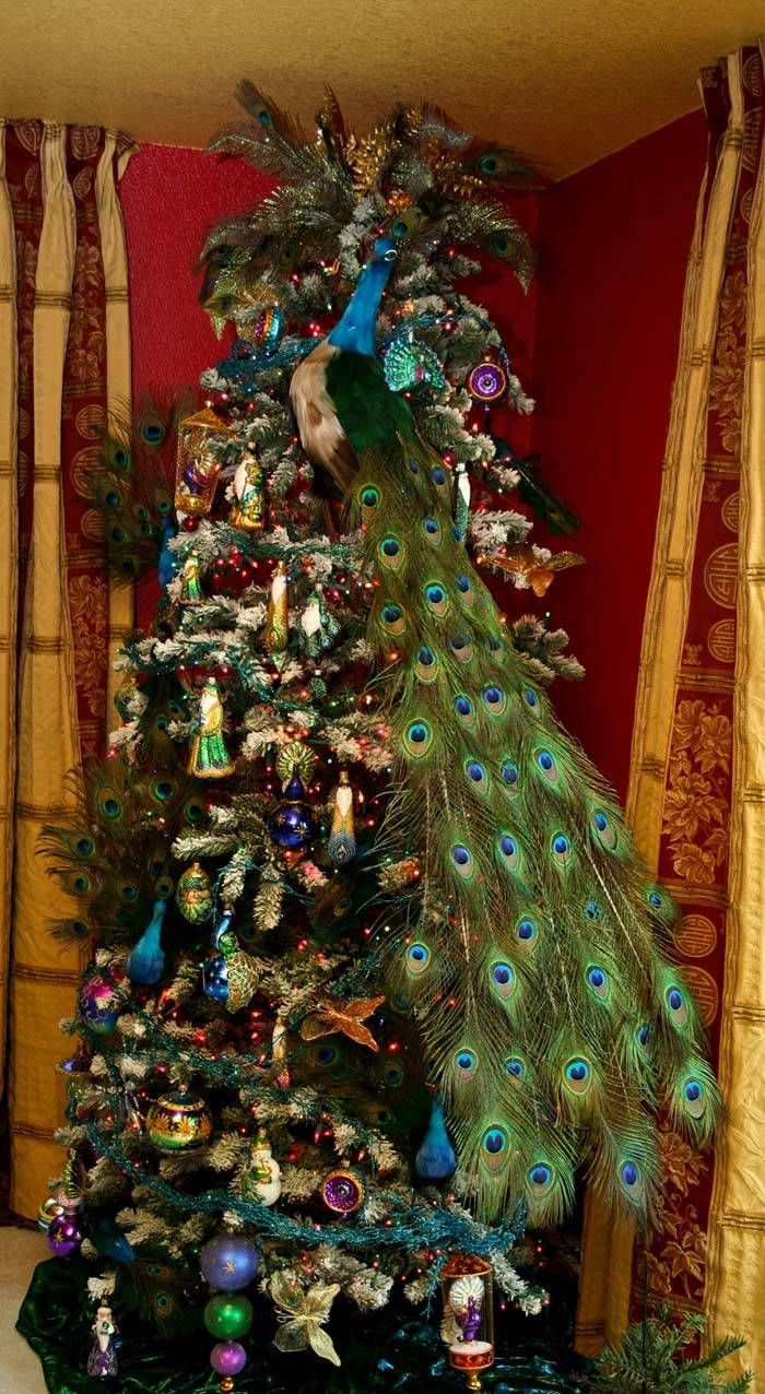 Peacock christmas decorations on pinterest peacock for Home decorations peacock