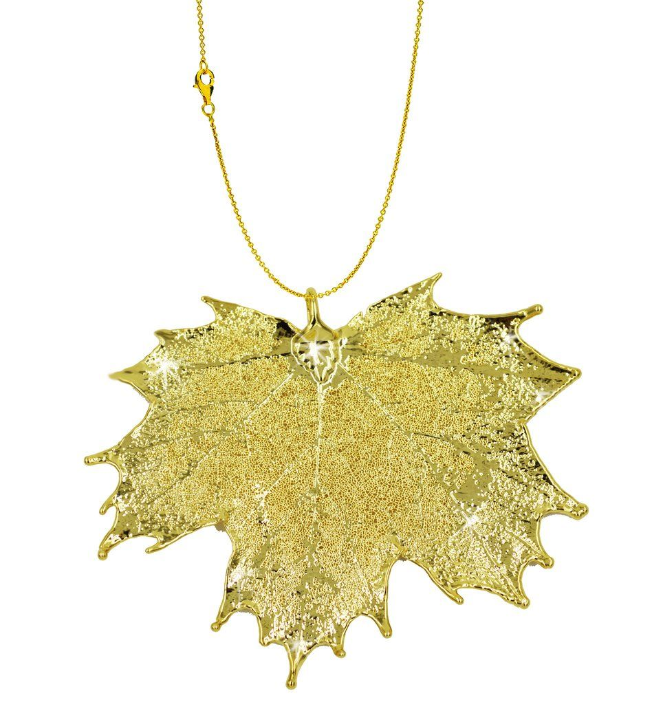 Real leaf pendant with chain sugar maple in k yellow gold necklace