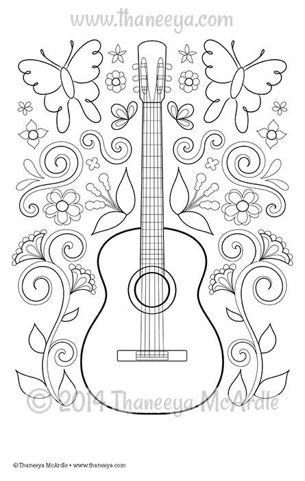 Color Fun Guitar Coloring Page By Thaneeya Mcardle Designs