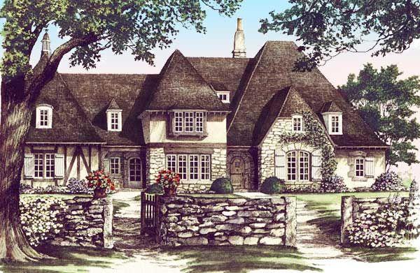 Plan 32577wp Distinctive Tudor Home Plan French Country House Plans Tudor House Tudor Style Homes