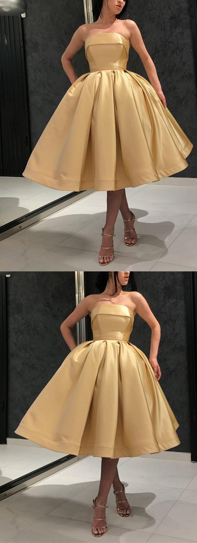 Short gold prom dress strapless homecoming dress fashion evening