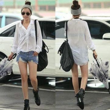 Korea Women's Soft Cotton Lapel Shirts Blouse Tops HOT