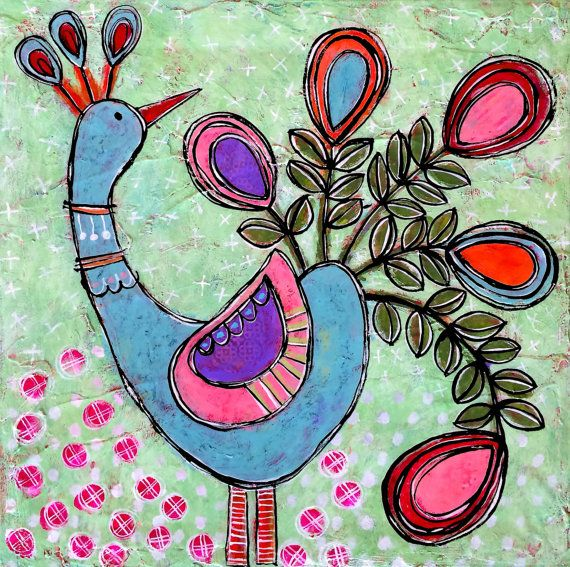 SWEET GEORGE Original Mixed Media Folk Art Peacock by Gina McKinnis dishy art