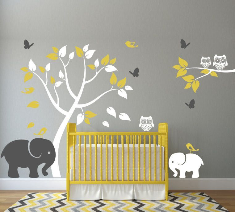 Nursery wall decal with elephants tree birds butterflies and owls chambres b b chambres - Stickers koala chambre bebe ...