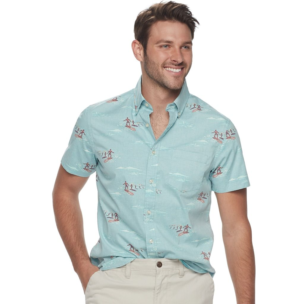 "35a5ab238924e5 Men's SONOMA Goods for Lifeâ""¢ Slim-Fit Poplin Button-Down Shirt, Size: XL,  Turquoise/Blue (Turq/Aqua)"