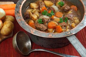 Irish lamb stew in old copper pot -- from Murder Is Binding, the first Booktown Mystery.