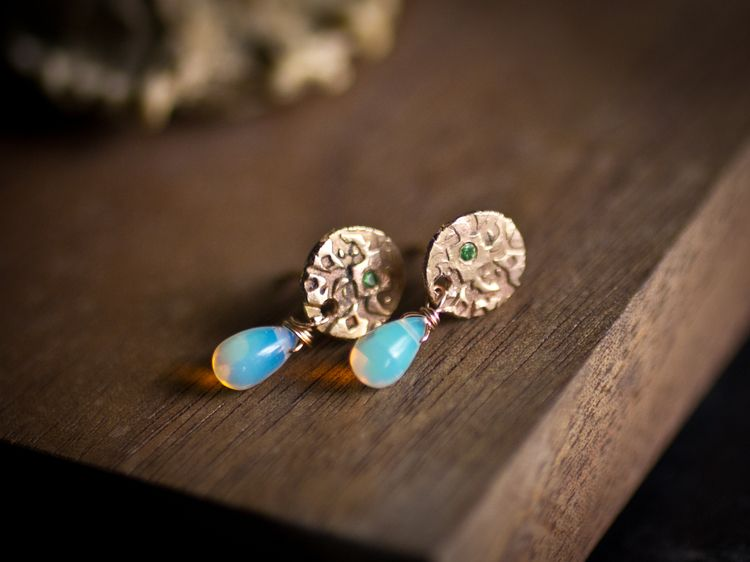 Beloved Earrings in 14k gold with a 1.5 mm tsavorite with opal drop.