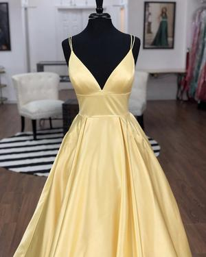 Sexy Vneck Ball Gowns Satin Prom Dresses With Pocket - Yellow evening dresses, Prom dresses yellow, Satin prom dress, Ball dresses, Prom dresses for teens, Long prom dress - Item Description  A Glamorous Formal Fit Satin Dress With Spaghetti Straps,Open Back perfect for prom,evening,bridesmaid,formal party or any other special occasions! color available Yellow,BabyBlue,Burgundy,Black Dresses Process Time 17 to 22 days Dress Style9005 Customized Yes Shipment Method DHL,Fedex,Aramex Delivery Time 3 to 7 Work Days