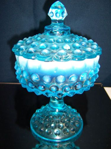 Vintage Fenton Opalescent Hobnail Dish Blue and Clear Ruffled Candy Bonbon Catchall Bowl