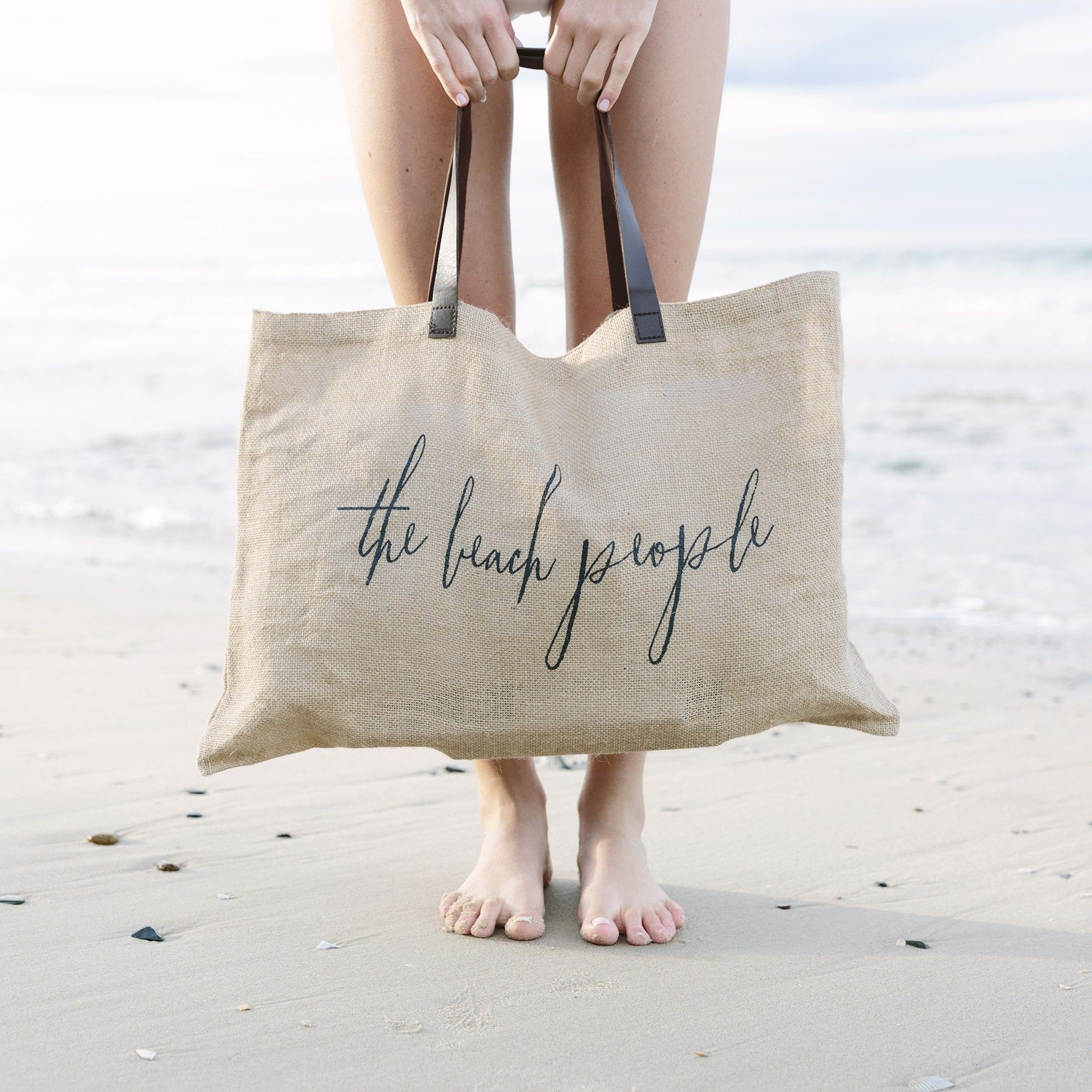 LOVE Jute Tote Bag with Faux Leather Handles