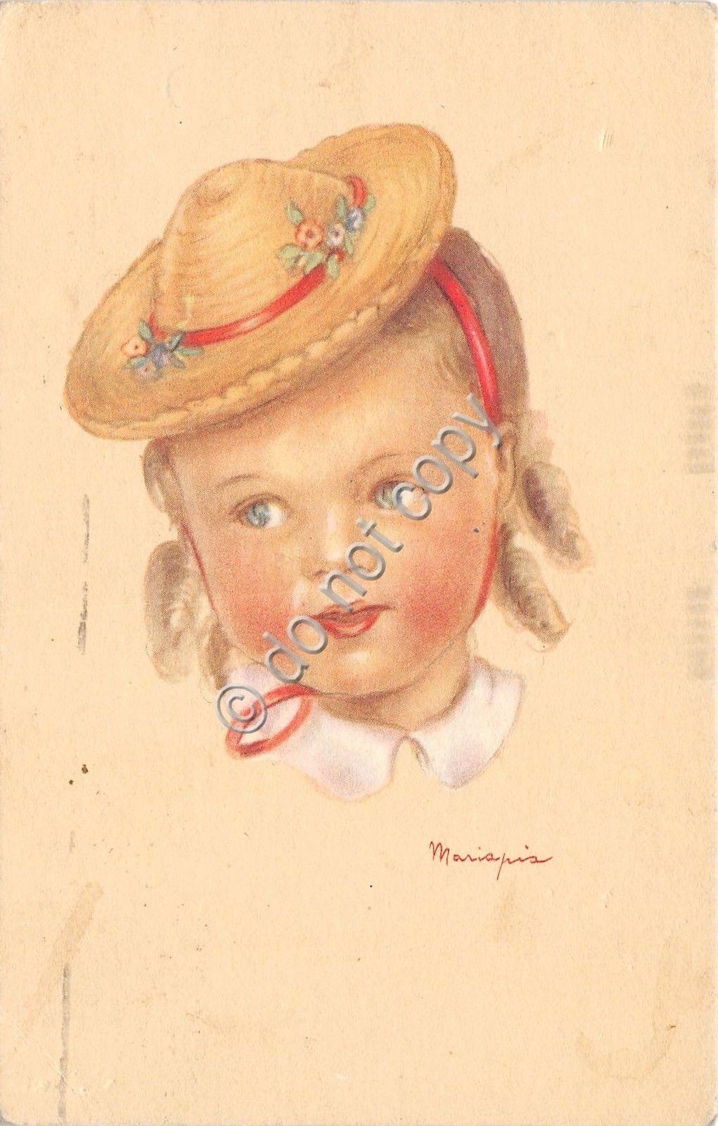 Cartolina - Postcard - Illustrata - Mariapia - Bimba con cappello - anni 30 | eBay