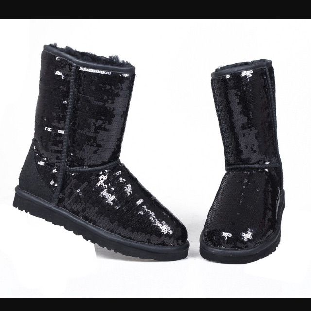 83bb685c21d Short Black Sequin Ugg Boots | Products | Ugg boots, Uggs, Boots