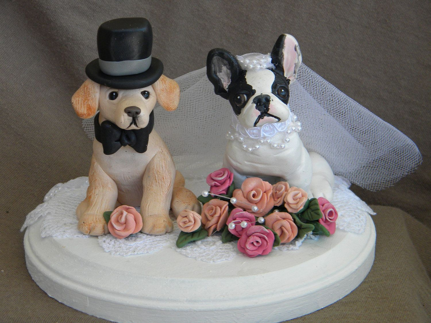 Custom wedding cake topper with two dogs ooak by sallysbitsofclay