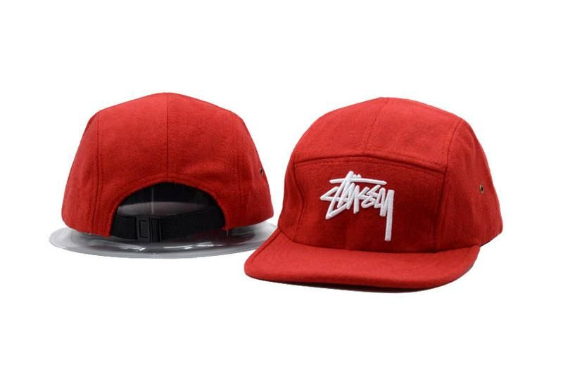 Men's / Women's Stussy Basic Stock Logo Embroidery Signature Logo 5 Panel Strapback Hat - Grey / Red