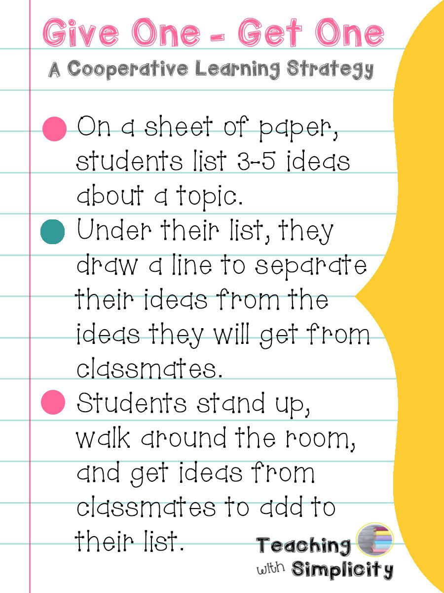Give One Get One A Cooperative Learning Strategy Pinterest