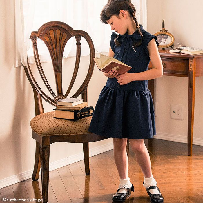 c2b08cf09a8f5 子供服 袖なしワンピース 紺 カジュアル 子ども キッズ ノースリーブ ...