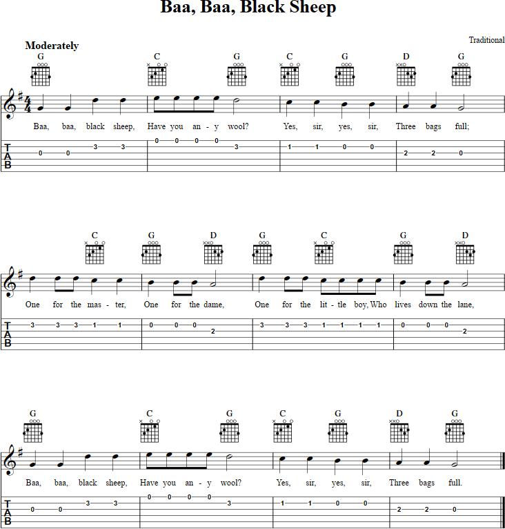 Baa Baa Black Sheep Guitar Tab Proper Guitar Tab Pinterest