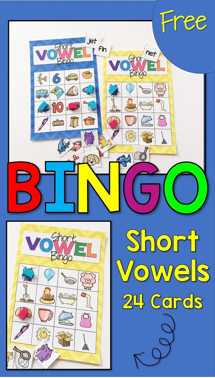 Grab your FREE Short Vowel Bingo game for you classroom