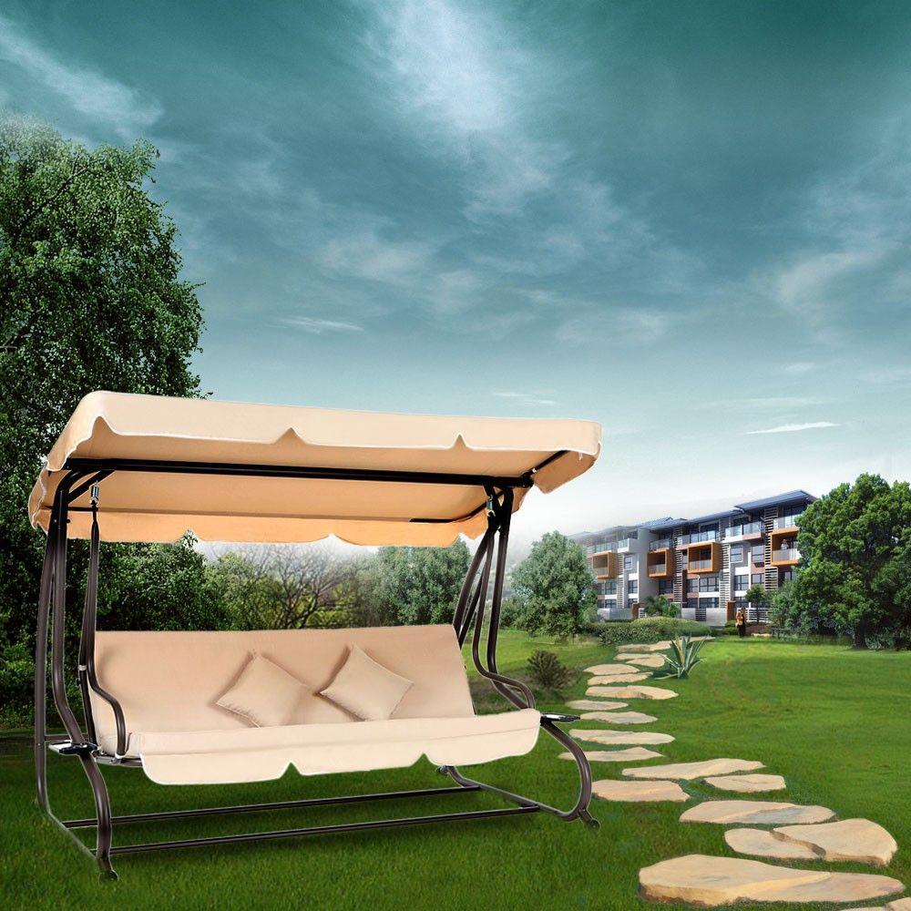 Ikayaa modern dualuse outdoor patio garden swing chair folding bed