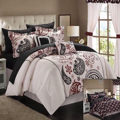 Chic Home Olivia 20 Piece Reversible Comforter Set Size: Queen, Color: Beige