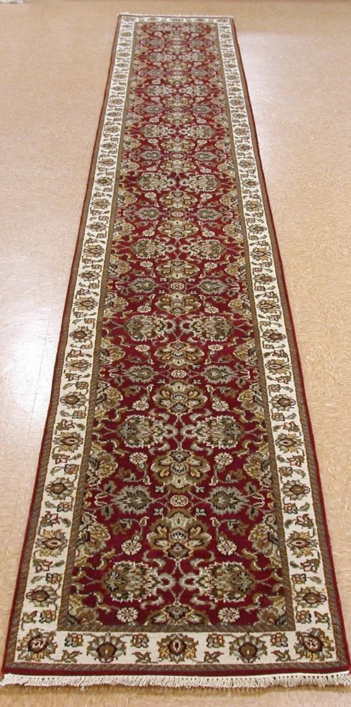 2 7  x 18 3  KASHAN Style Hand Knotted Wool New BURGUNDY Oriental Rug Runner