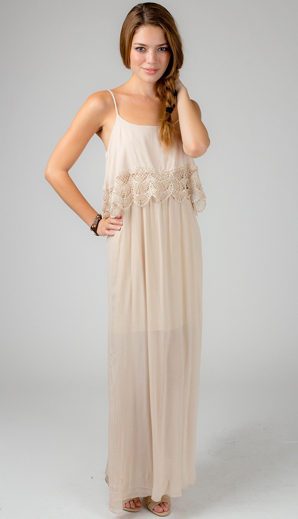 <p>This sweet maxi dress features stunning crochet trim and adjustable cami straps, complete this look with a statement necklace.</p>  <p></p>  <p><strong>Details:</strong><br />-Polyester<br />-Hand Wash Cold<br />-Imported</p> $49.99
