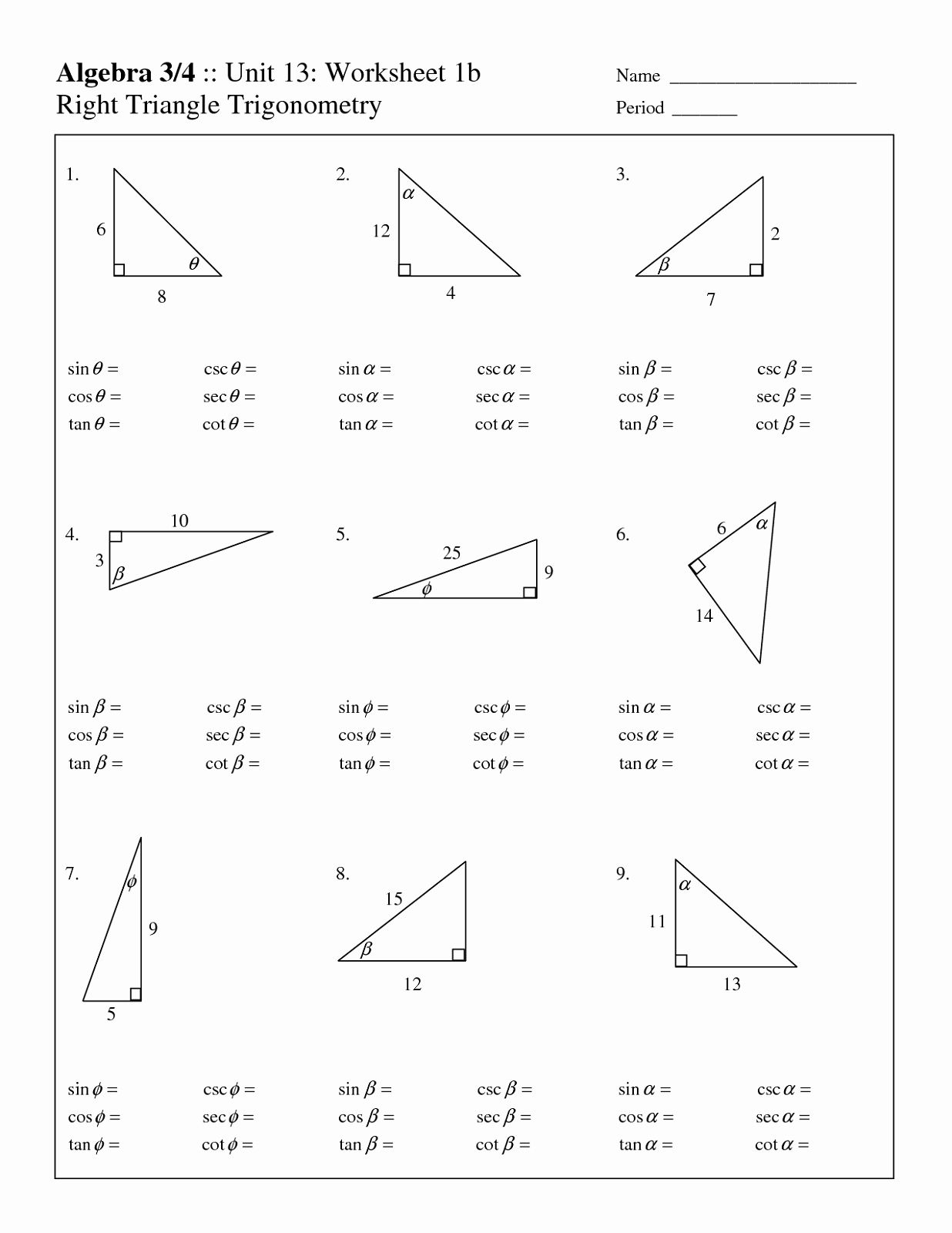 Right Triangle Trig Worksheet Answers Beautiful Free Fact