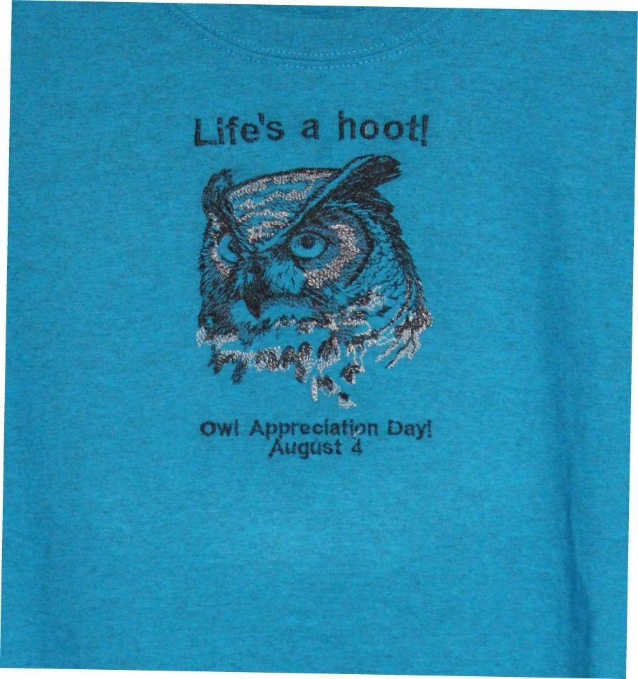 Embroidered Graphic T Shirt - Owl Appreciation Day - Gildan 2XL by JYSCO on Etsy
