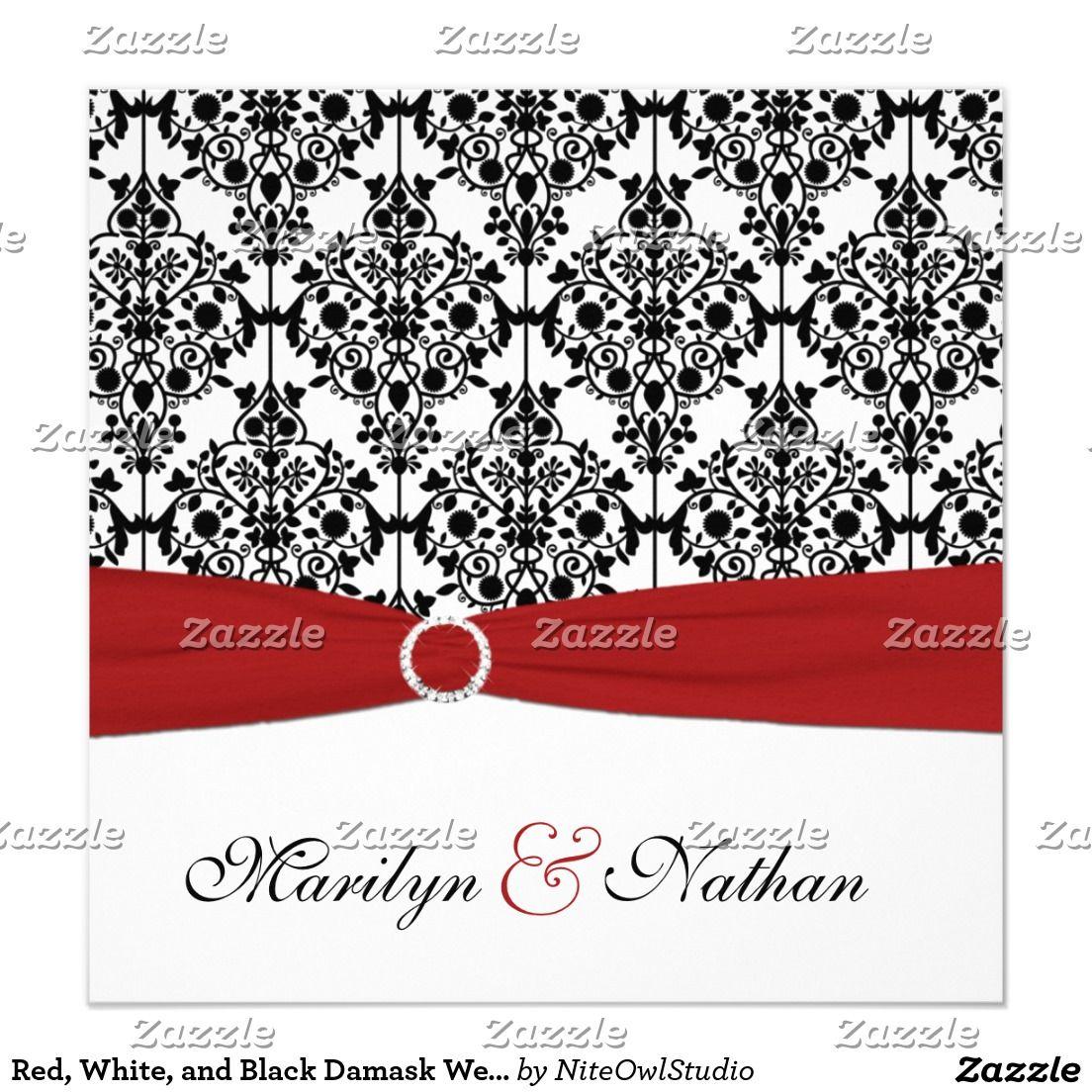 Red, White, and Black Damask Wedding Invitation | Summer wedding ...