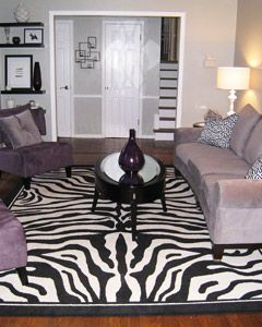Sassy Zebra Living Room We love the purple accents Ashley and Brent ...