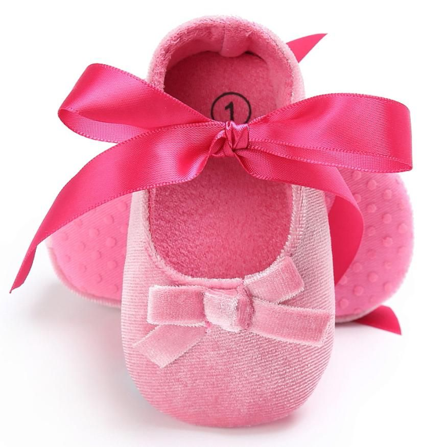 Baby Girls Shoes Bow Knot Solid First Walker Soft Sole Shoes Newborn Infant Toddler Girls Princess Shoes