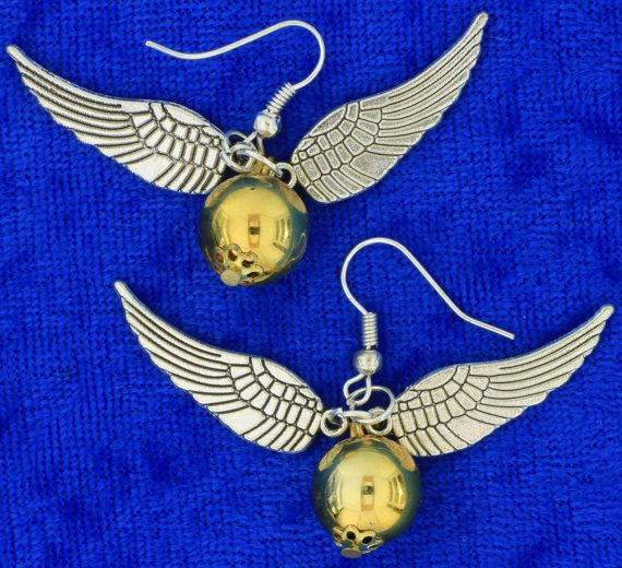 Golden Snitch Earrings(2) Dangling Quidditch Harry Potter