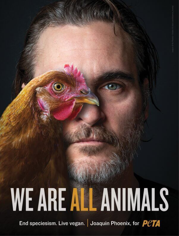 Joaquin Phoenix Reminds Everyone That 'We Are All Animals' The star of Joker Joaquin Phoenix knows that the horrors animals endure before being slaughtered for meat are no joke. Whether we have feathers, scales, paws, or hands, WE ARE ALL ANIMALS!