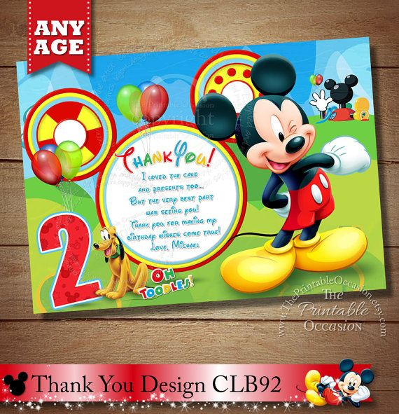 Mickey Mouse Thank You Card Clubhouse Thank You Card Mickey Invitaciones De Cumpleanos De Mickey Mouse Cumpleanos De Mickey Mouse Invitacion De Minnie Mouse
