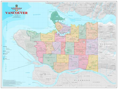 Vancouver Canada Area Map Map of Vancouver BC neighborhoods. | Vancouver neighborhoods, Map