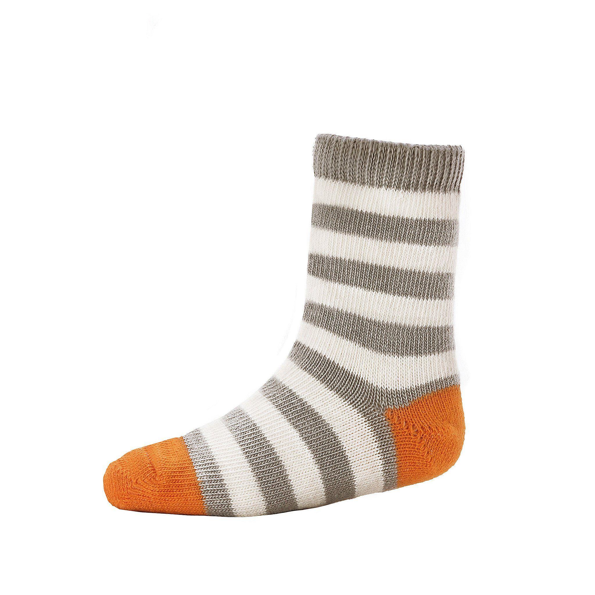 Kids Crew Sock Striped Grey Natural Organic Cotton Toddler Socks Kids Crew Socks